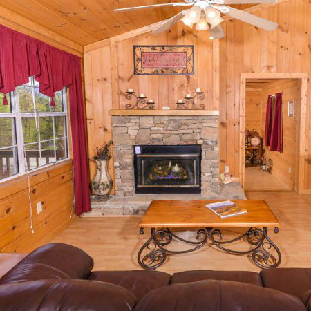 Pigeon Forge Cabin Vacation Rental Romantic Fireplace