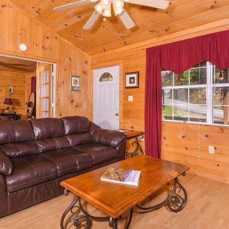 Sevierville Romantic Cabin Vacation Rental Living Room