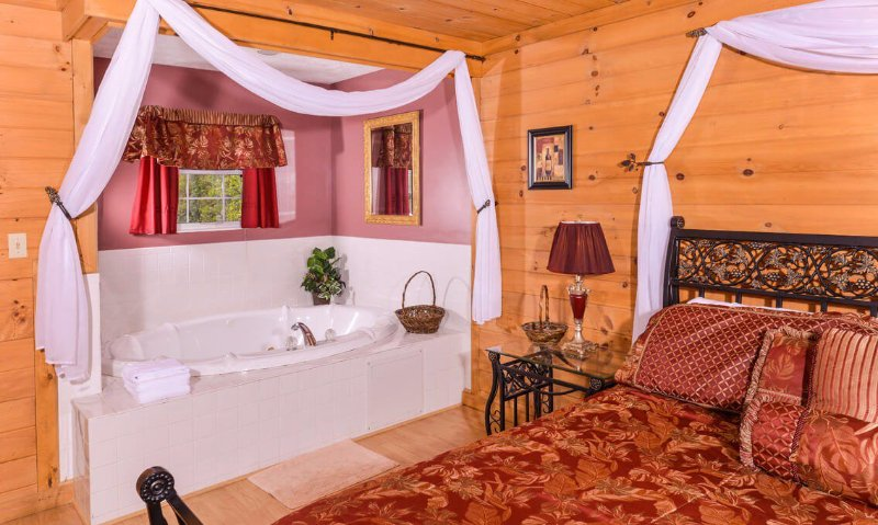 Closeup of romantic en suite Jacuzzi tub to make yourself at home